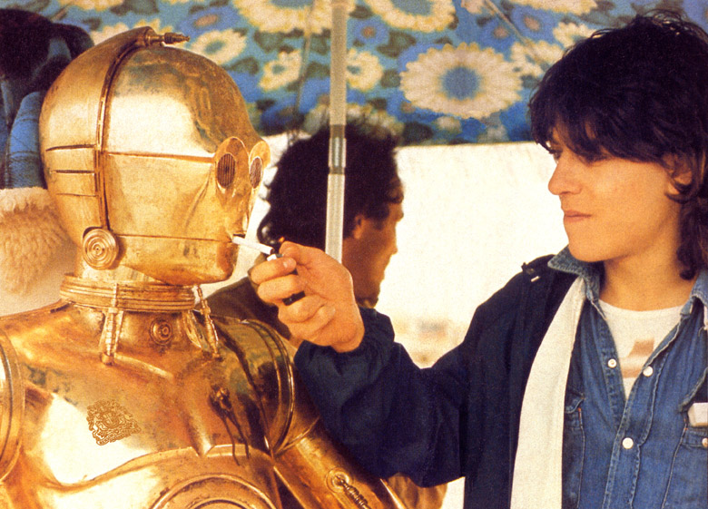 anthony daniels stops for a cigarette break